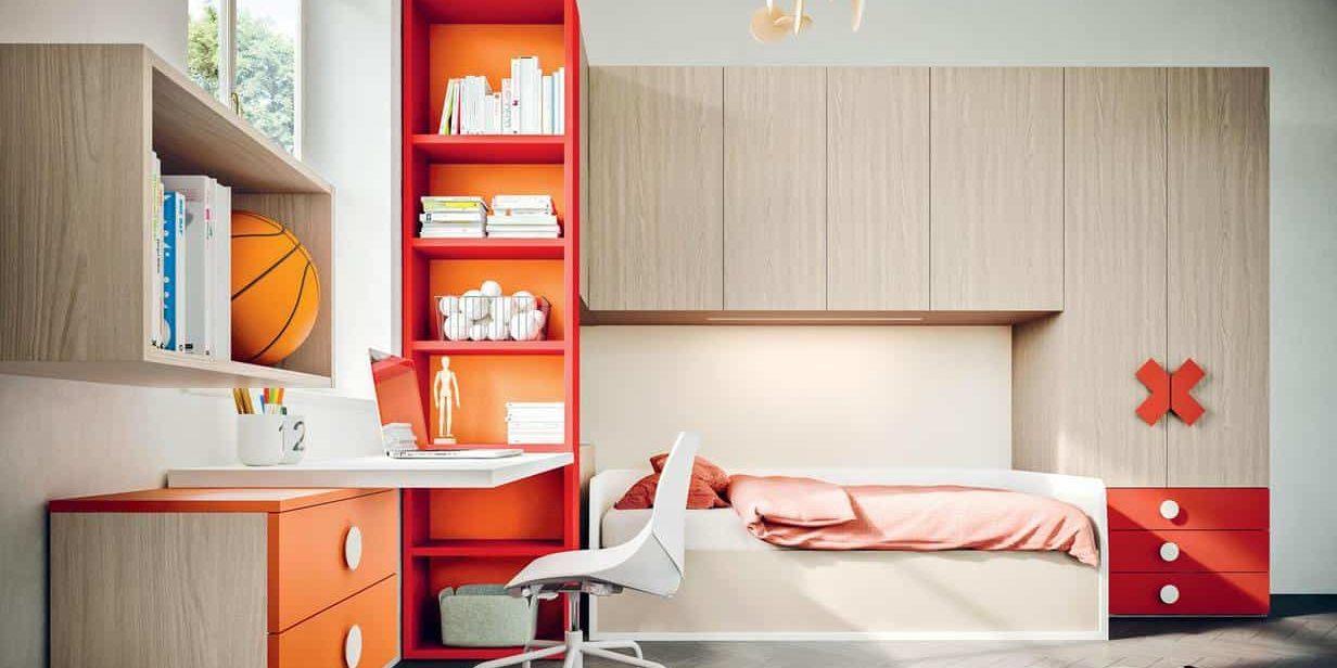 Myl Idea progetta arredamento italiano per camere per ragazzi moderne, componibile e su misura a Torino, camera angolare a ponte