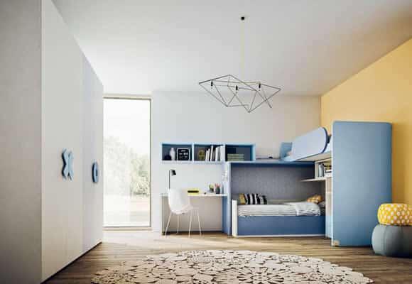 Myl Idea progetta arredamento italiano per camere per ragazzi moderne, componibile e su misura a Torino, cameretta a ponte angolare