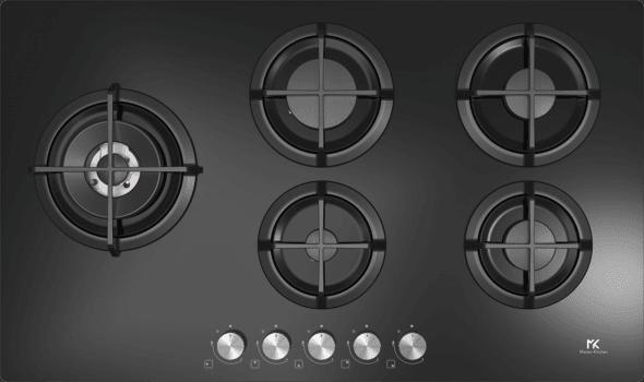 piano cottura master kitchen in vetro nero